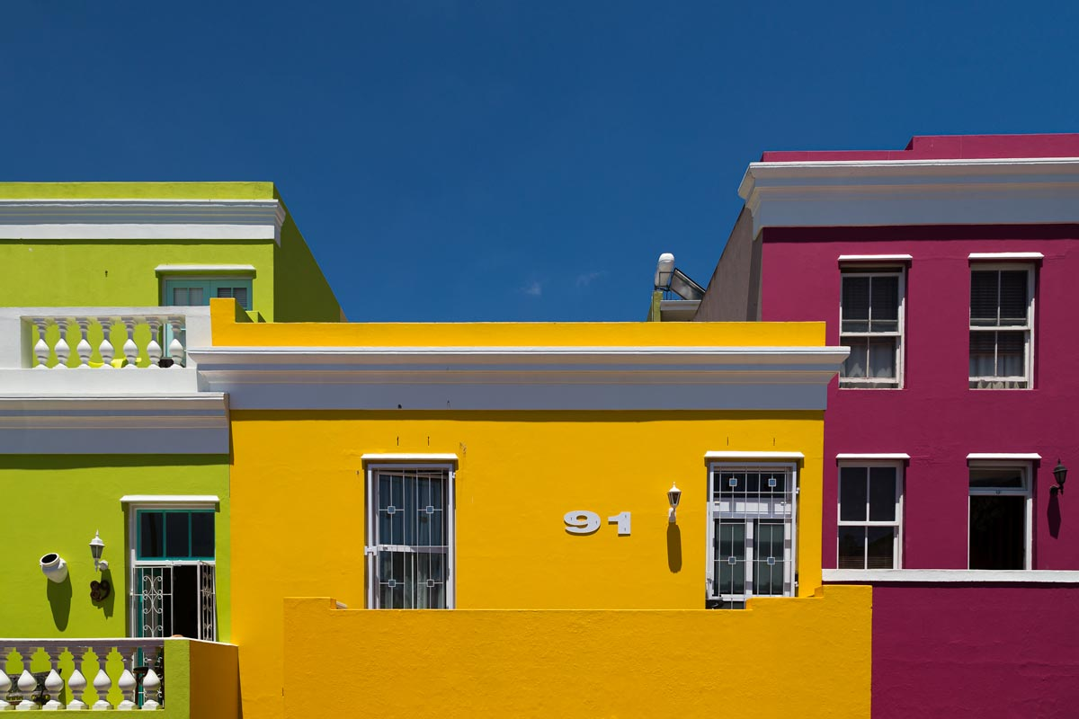 Rule of odds three houses in three colours in cape town south africa