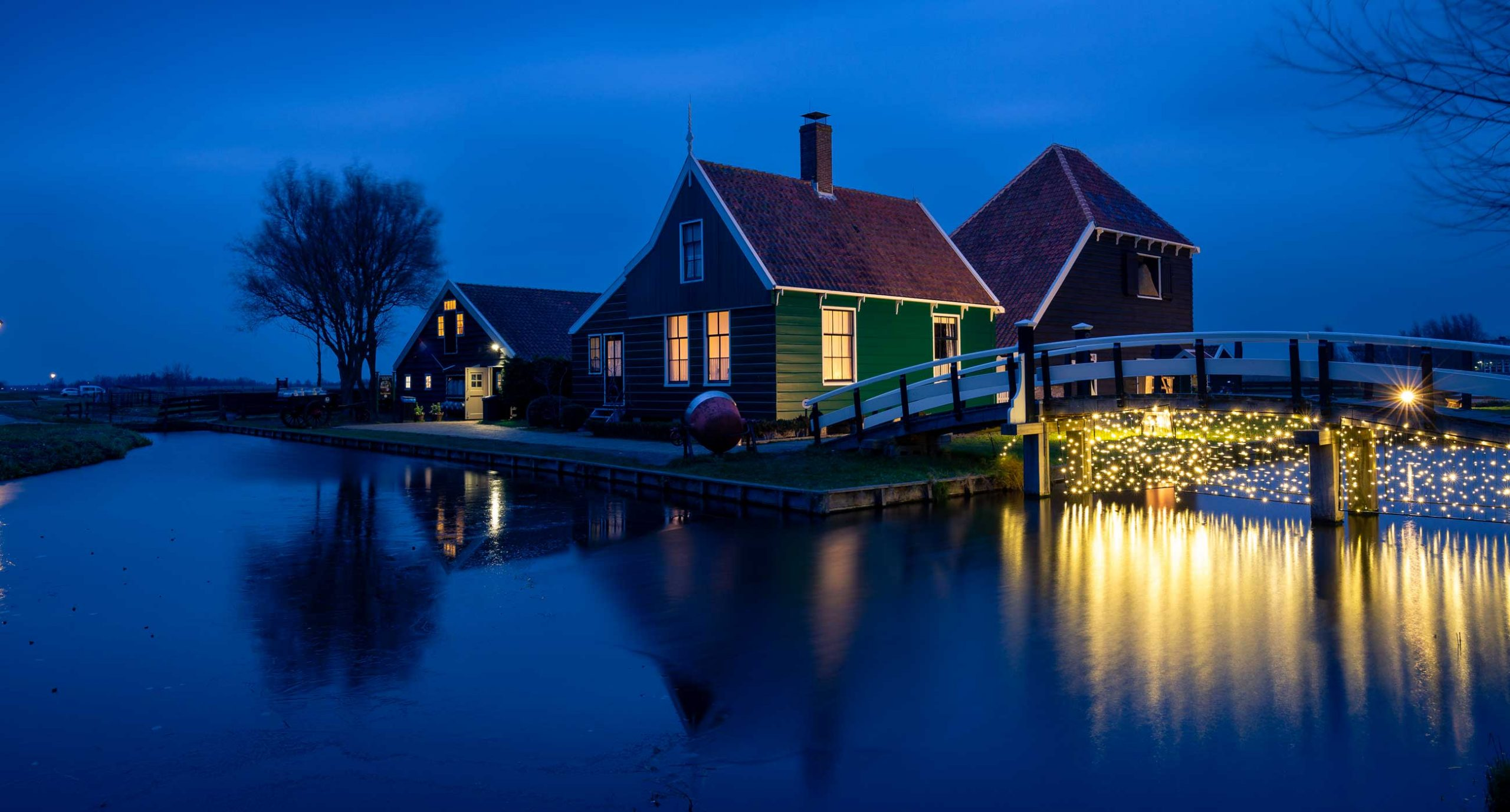 Zaanse Schans in The Netherlands at blue hour